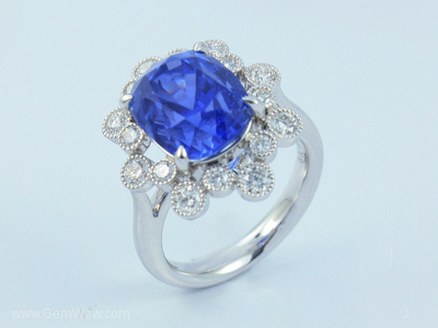 PT Ring with Cut Burma Blue Sapphire Oval 849 Cts and Diamond