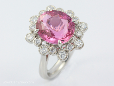 PT Ring with Cut Pink Sapphire Oval 801 Cts and Diamond