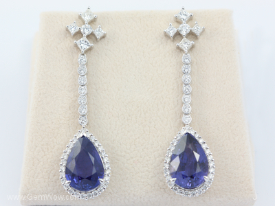 PT Earrings with Cut Burma Color Change Sapphire Oval 1039 Cts and Diamond