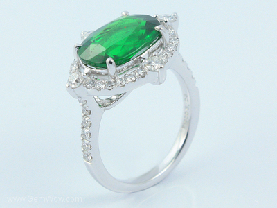 PT Ring with Cut Tsavorite Oval 503 Cts and Diamond