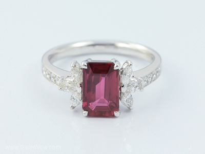PT Ring with Cut Mozambique Ruby Oval 205 Cts and Diamond